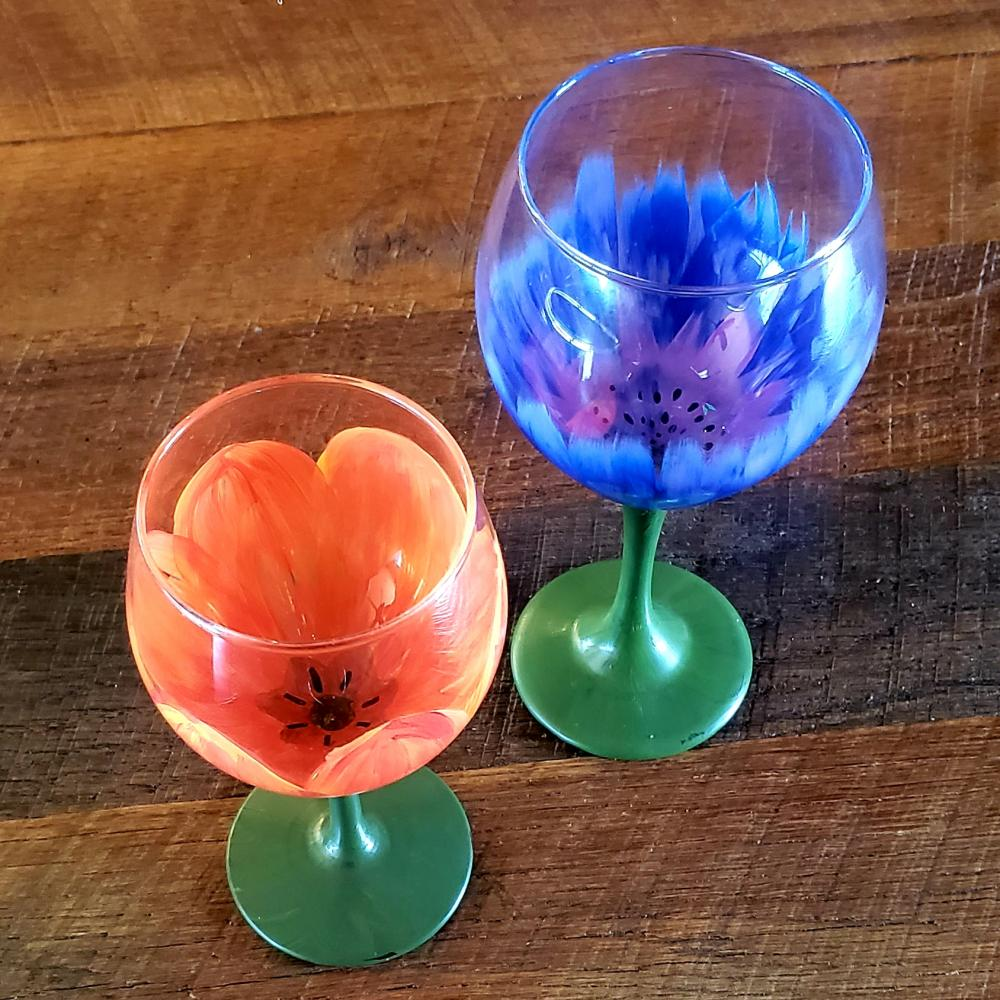 Flowers painted on wine glasses