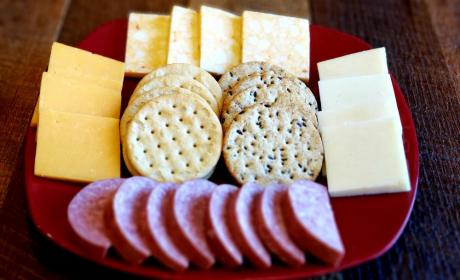Assorted Cheeses, Salami, & Crackers